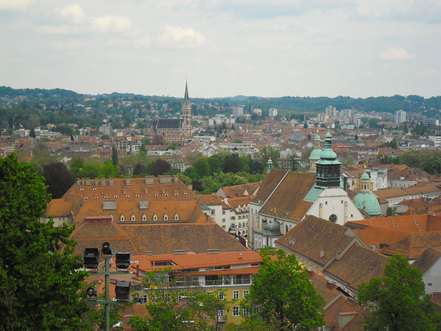 Graz surrounded by the mountains of Austria