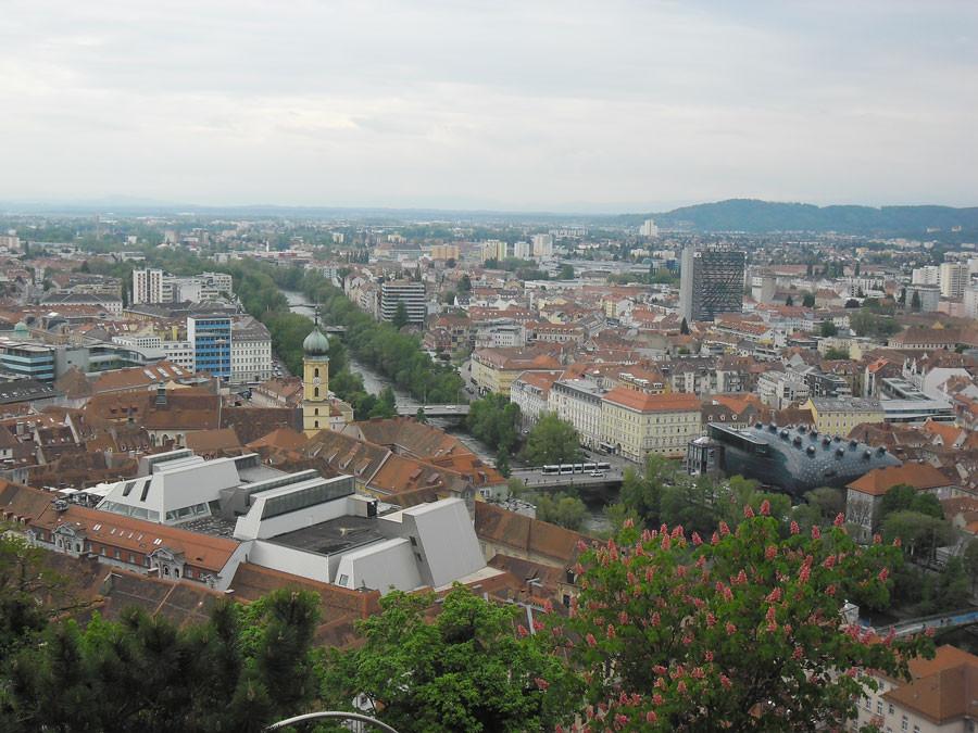 Ausblick vom Schlossberg Graz