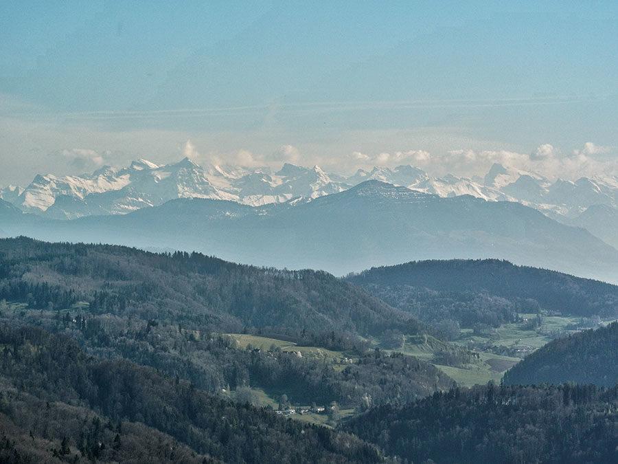 Zuerich Umland mit Alpen im Hintergrund